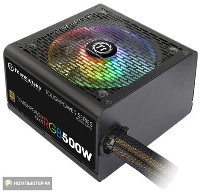 Блок питания Thermaltake ATX 500W Smart RGB 500 80+ (24+4+4pin) APFC 120mm fan color LED 5xSATA RTL